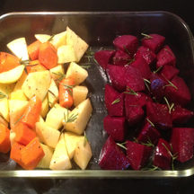 image showing how I kept the beets separate from the rutabagas and carrots in the baking dish