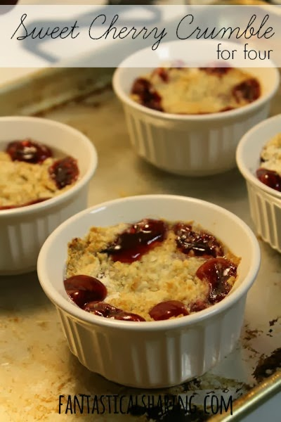 Sweet Cherry Crumble for Four | #SecretRecipeClub reveal day with this divine #dessert from Brooklyn Locavore | www.fantasticalsharing.com