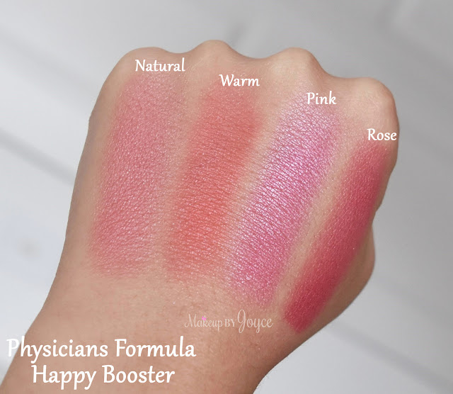 Physicians Formula Happy Booster Pink vs Rose Blush Swatch