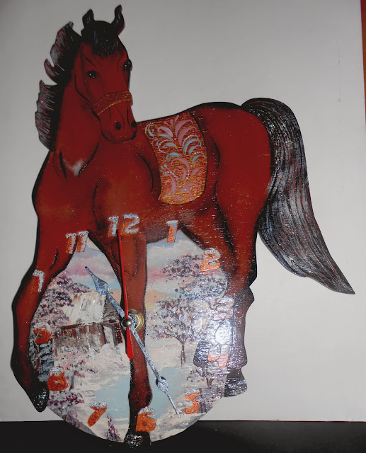 This wall Clock in form Horse exclusive gift for 2014 New year - year of a wooden Horse and Christmas. These wall Clock for home decor, are ideally suited for an interior of kids room, for Children, Kid, Boy, Girl, Playroom.