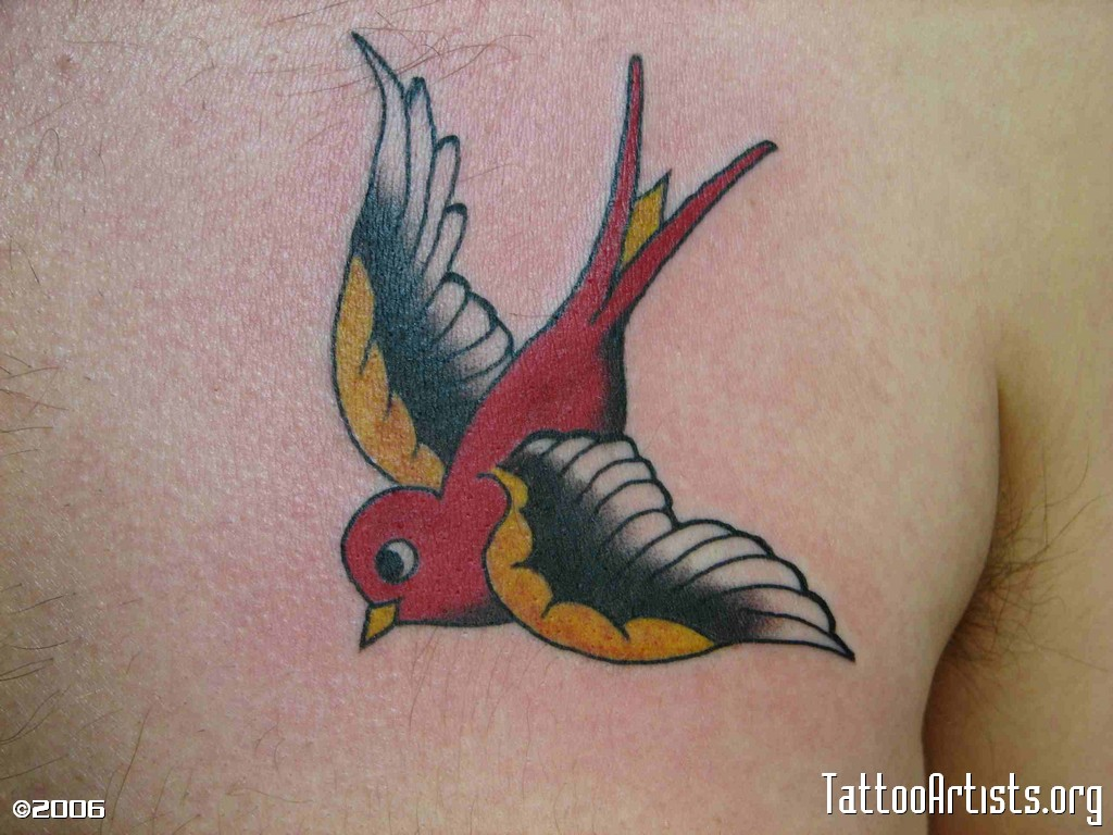 Arm Old School Sparrow Tattoo by Seven Devils