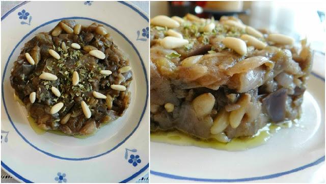 Tartar de berenjenas y piñones
