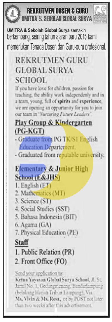 Recruitment Guru di Sekolah GLOBAL SURYA terbaru 2015