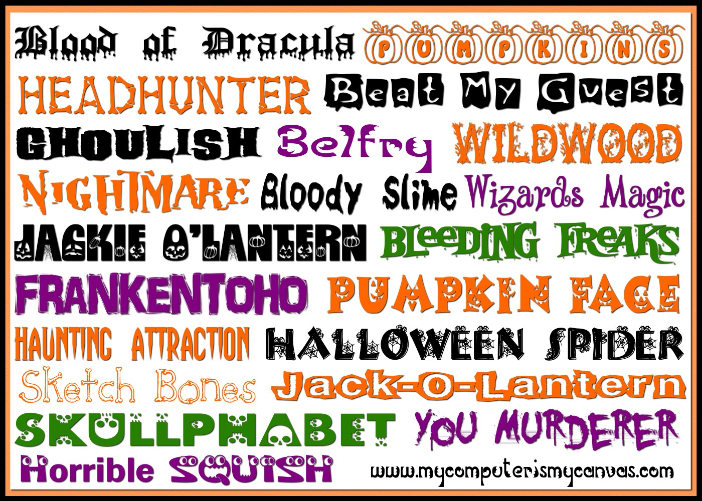 My 20 most favorite halloween fonts!