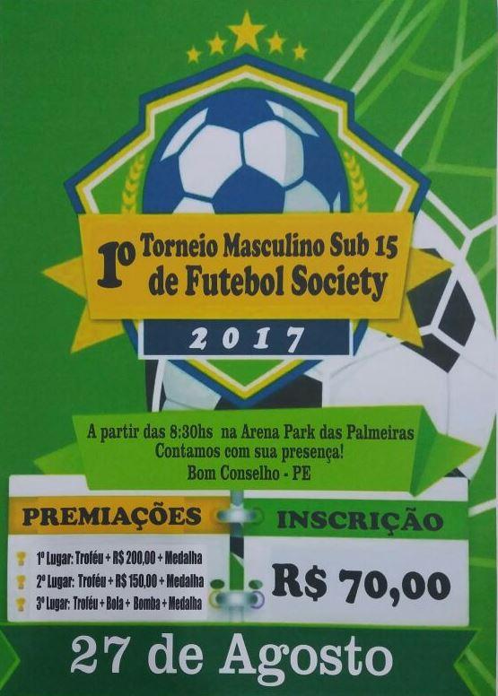 I TORNEIO DE FUTEBOL SOCIETY SUB 15 MASCULINO