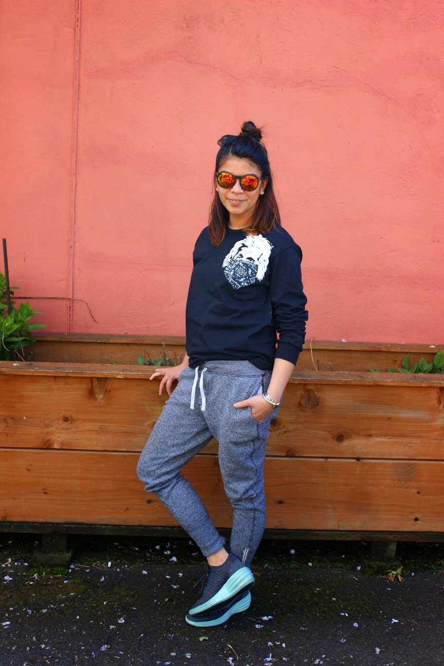 what i wore today, ootd, sweats, joggers, gray, nike, sneakers, top knot, fashion blogger, portland blogger, west coast blogger, mirrored sun glasses