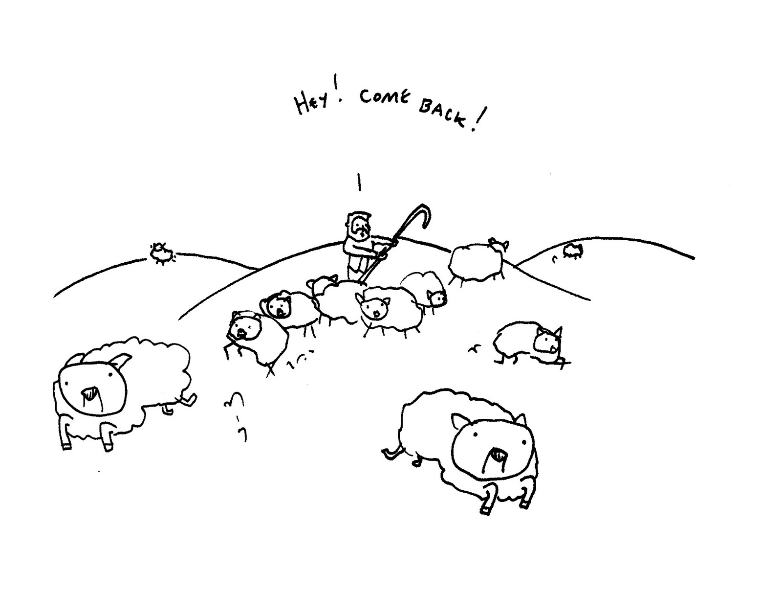 Sheep Flock Drawing Shepard's Flock