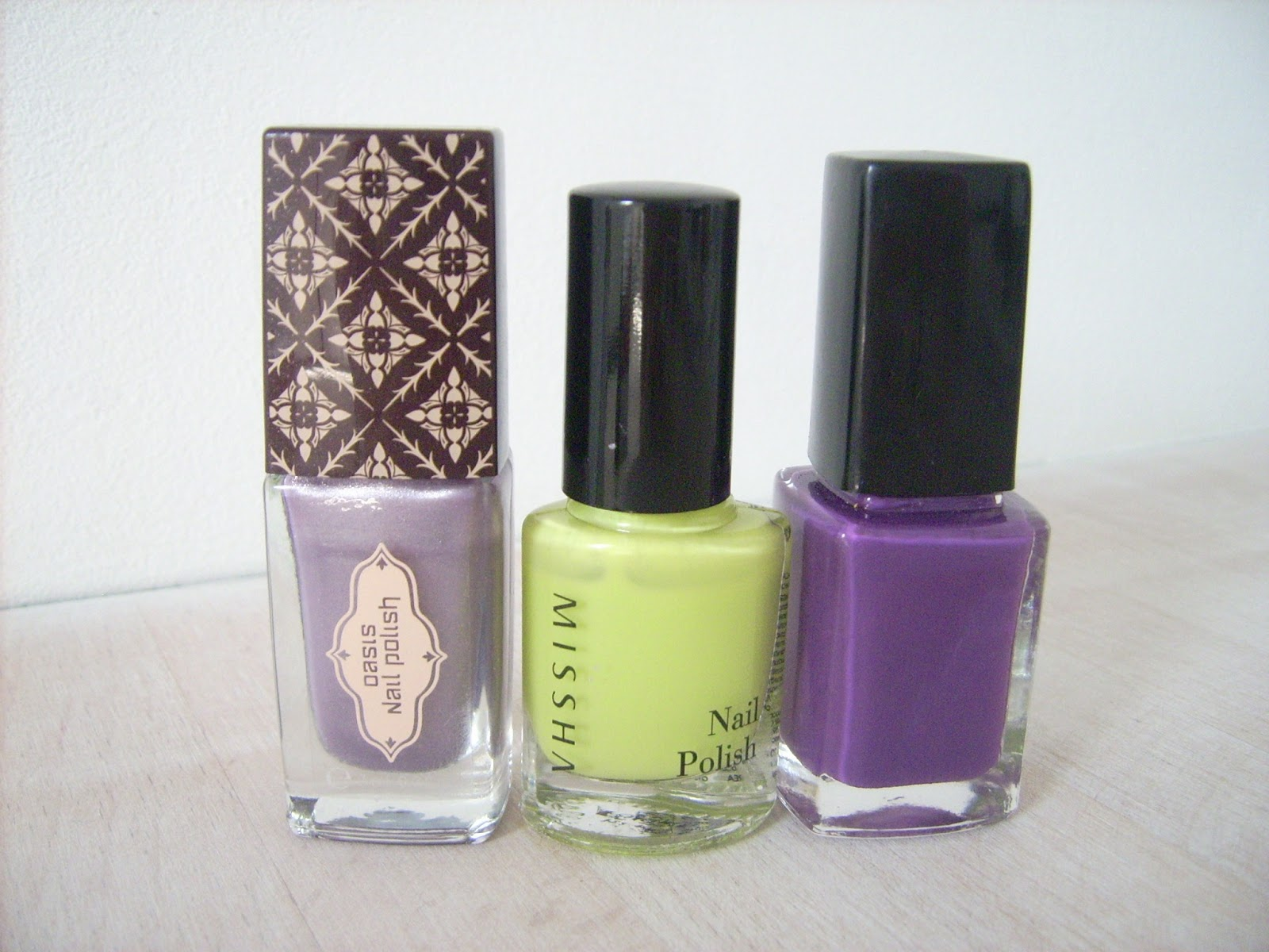 oriflame nail polish purple, missha nail polish GR02