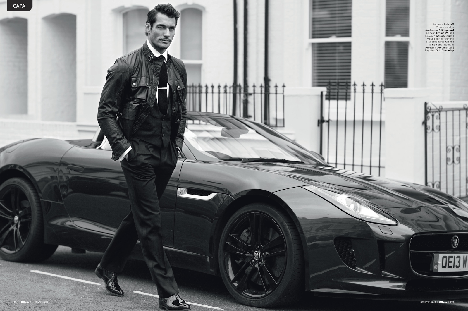 Mens leather gloves gq - David Gandy For Gq Style Brazil Winter 2014