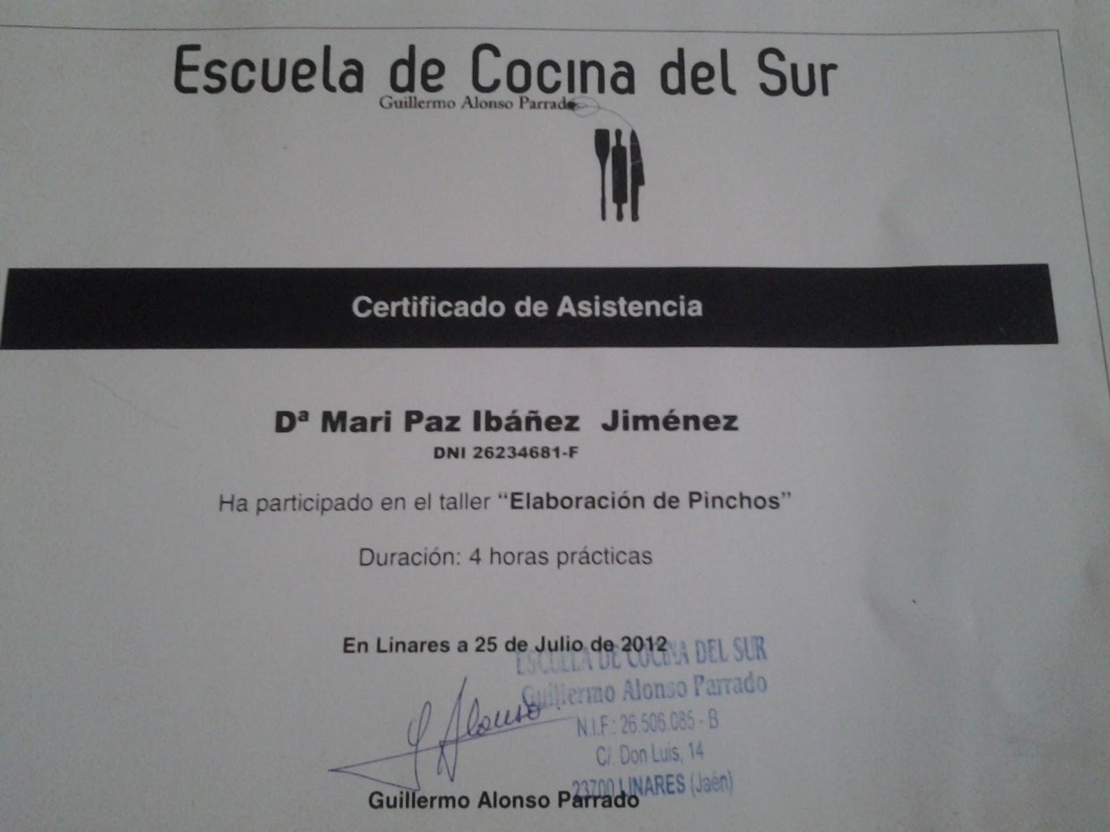 Paz y gloria en la cocina premios cursos y diplomas - Curso de cocina masterchef ...