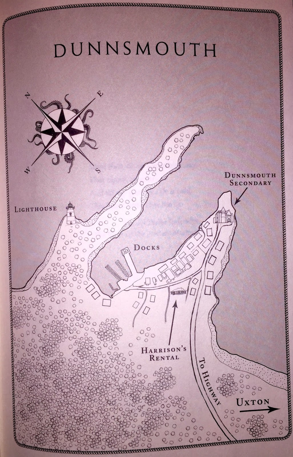 Map of Dunnsmouth, Massachusetts from Harrison Squared by Daryl Gregory