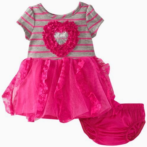 Nannette Baby-Girls Newborn 2 Piece Stripe Heart Ruffle Dress Set