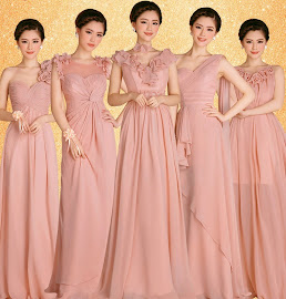Fabulous Five-Design Pink Bridesmaids Maxi Dress