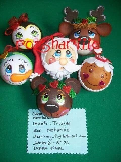 Bolas de navidad caritas manualidades y mucho mas - Manualidades de bolas de navidad ...