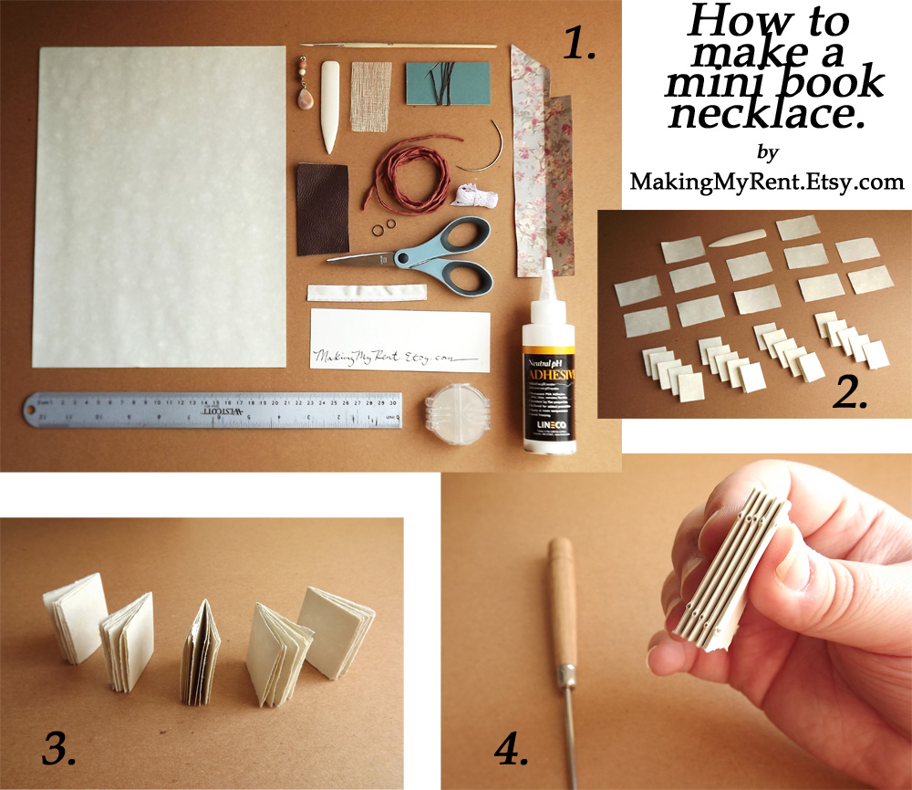 How To Make A Book : Making my rent mini book necklace tutorial