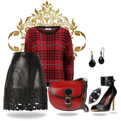 ootd, falda de cuero, leather skirt, tartan