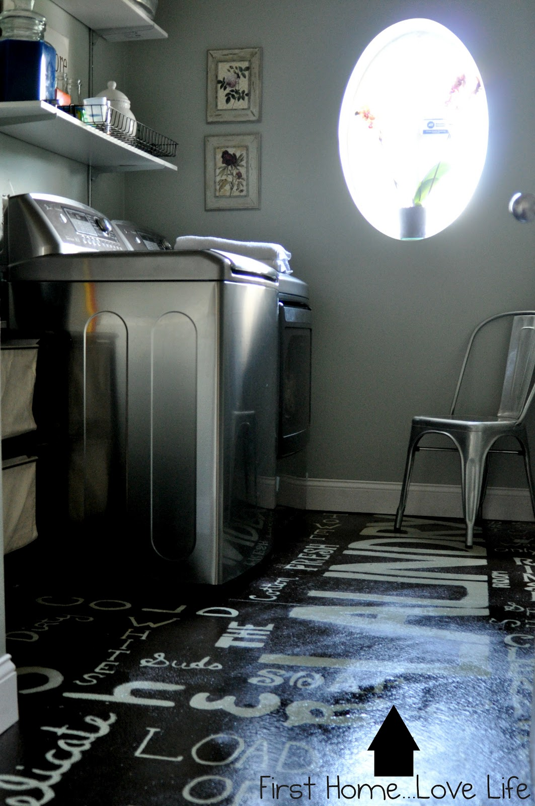 Remodelaholic Subway Art Painted Laundry Room Floor With