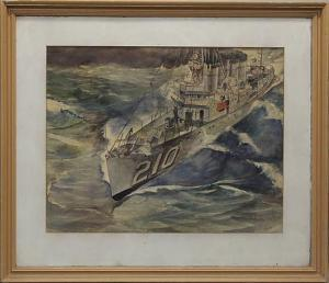 "Francis J. Quirk  ""Battleship"" Watercolor"