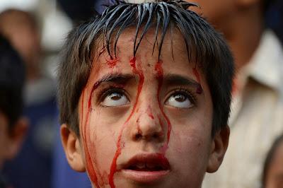 Kashmir, Boy, Blood, Muharram, Islam, Religion, Imam Hussain-R.A, Karbala, Iraq, Prophet Muhammad (PBUM), Shiite, Self Flagellation,