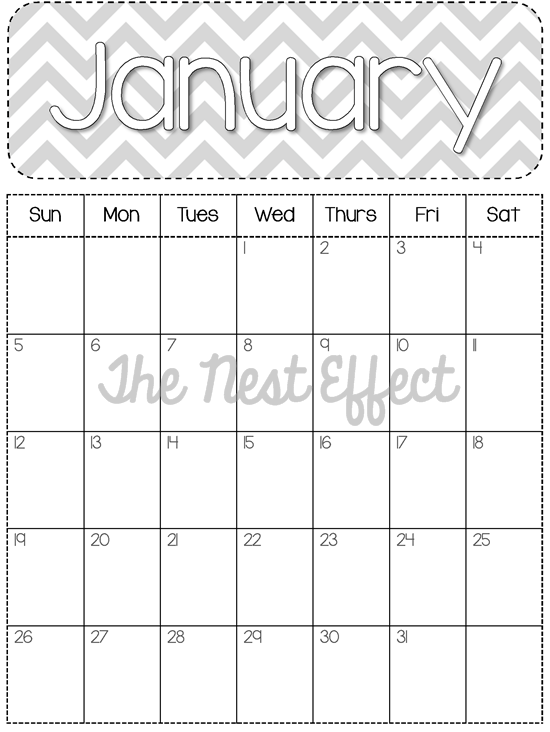 Free Printable: 2014 Monthly Chevron Calendars