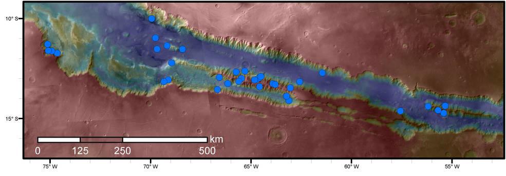 Imágenes de los cañones de Marte dan nuevas pistas sobre la presencia de agua