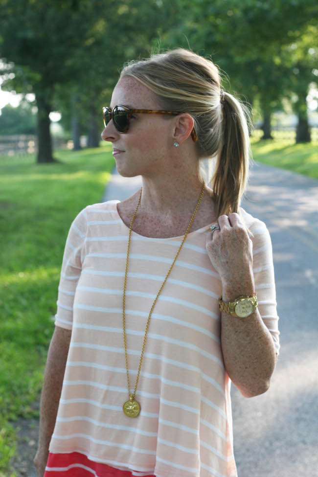 elizabeth & james sunglasses, nordstrom earrings, anthropologie top