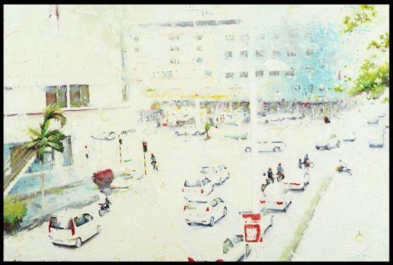 Xiau-Fong Wee pinturas luzes da cidade transito a noite de dia luz ofuscando