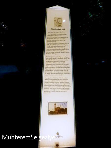 Firuz Ağa Camii bilgi tabelası