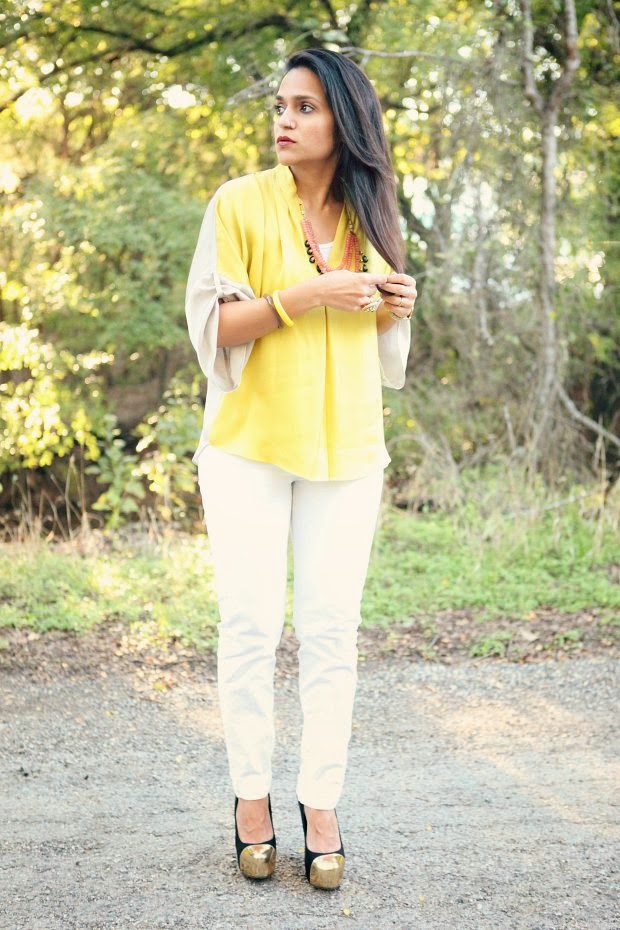 Elie Tahari for Nordstrom Top, GAP Jeans, JustFAB Shoes, Crazy & Co. Necklace, Belsi Collections, Tanvii.com