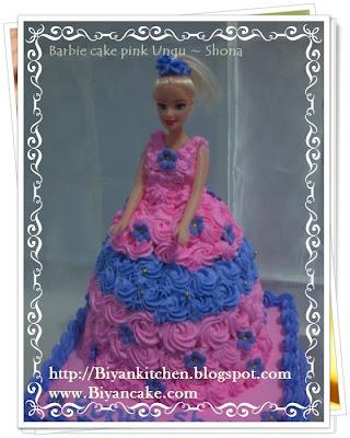 Barbie cake pink ungu untuk Shona