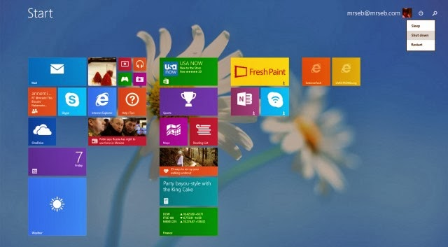 Windows 8.1 Update 1 Start screen, with power button