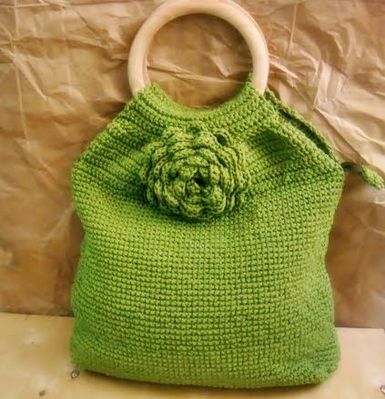 Shell Pattern Crochet Bag with Wooden Handle Top - Mustard