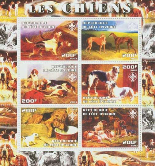 2003年コートジボアール共和国 ビーグル グレーハウンド フォックス・ハウンド ボルゾイ ブラッド・ハウンドの切手シート