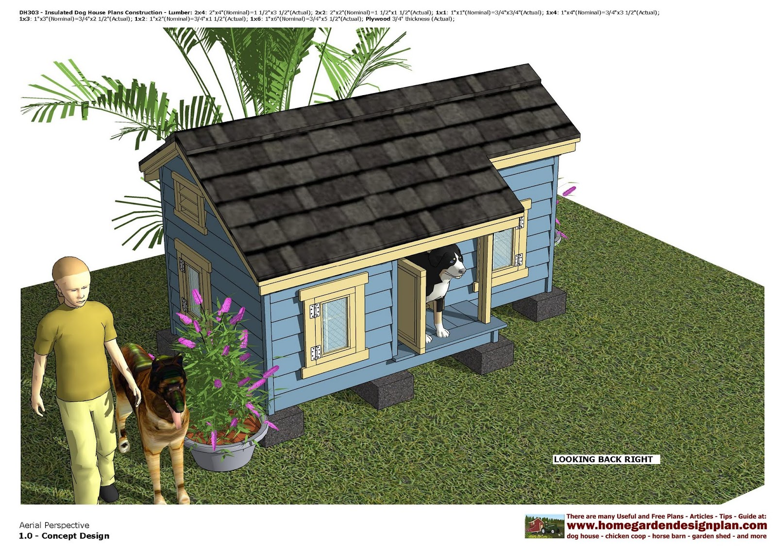 DH303 - Insulated Dog House Plans - Dog House Design - How To Build ...