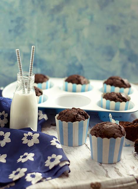 Featured Recipe | 3-Glazed Chocolate Donut Muffins from Chef In Disguise #SecretRecipeClub #recipe #muffins #breakfast #chocolate