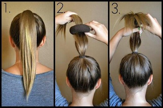 Как сделать култышку на голове с помощью бублика на длинные волосы