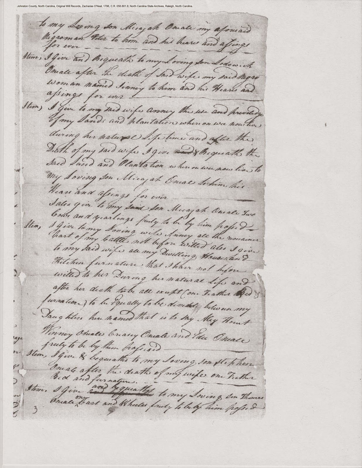 Zachariah O'Neal's will, Johnston Co., NC, 1796, p. 3