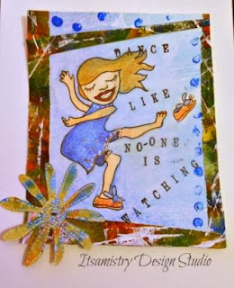 girl doing a happy dance digital stamp