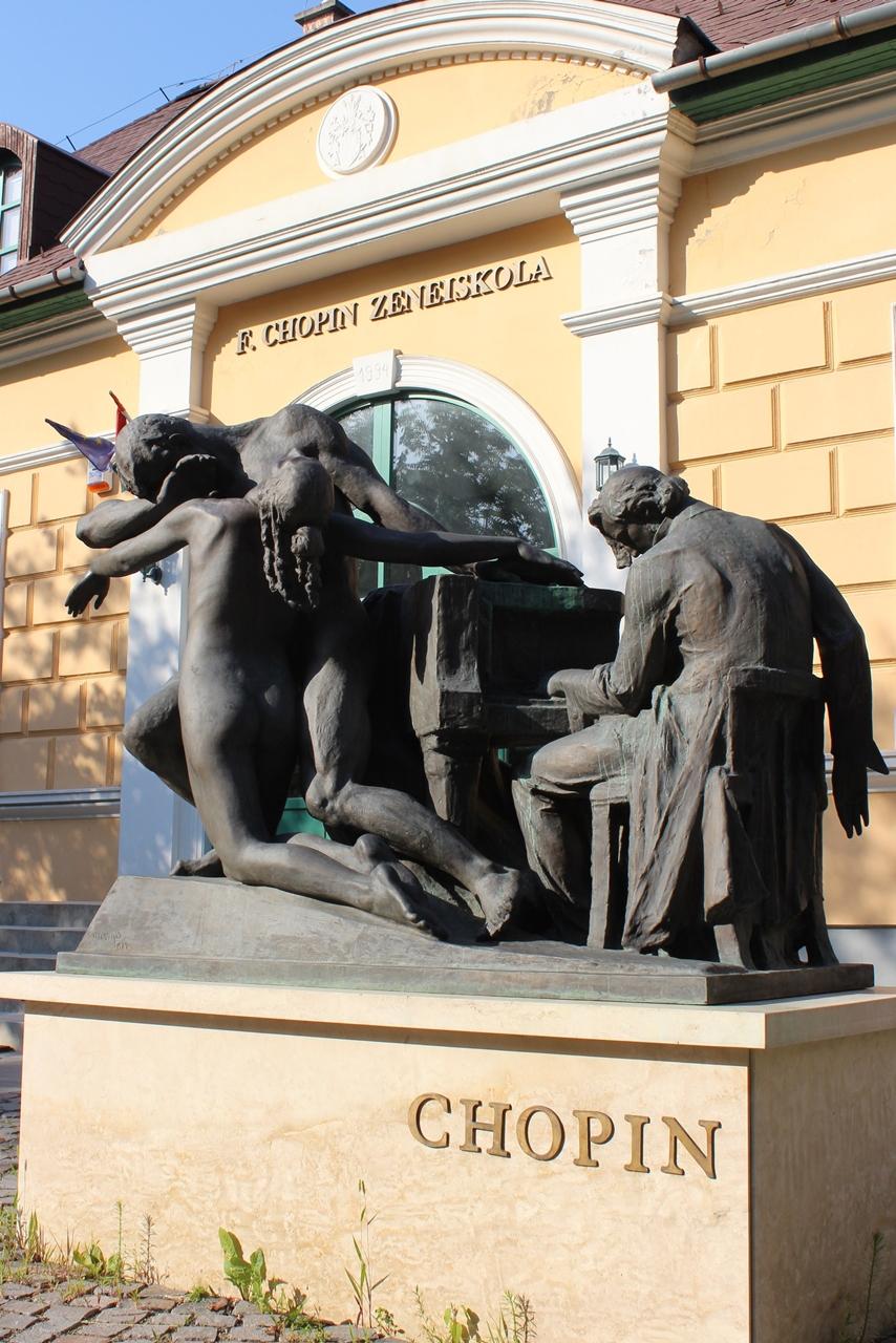Monument of Frédéric Chopin Music School in Gödöllő,  Hungary