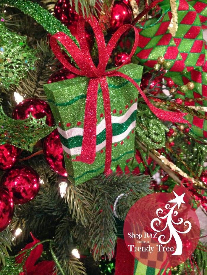 RAZ Metal Present Ornament at Trendy Tree