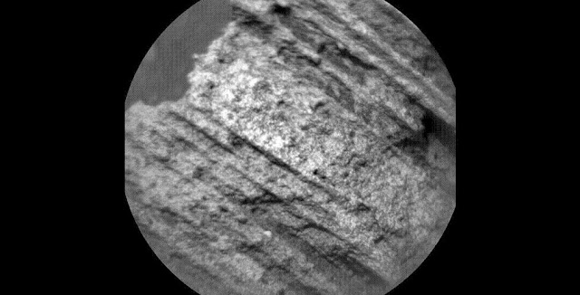 "This May 15, 2015, image from the Chemistry and Camera (ChemCam) instrument on NASA's Curiosity Mars rover shows detailed texture of a rock target called ""Yellowjacket"" on Mars' Mount Sharp. This was the first rock target for ChemCam after checkout of restored capability for autonomous focusing. Image credit: NASA/JPL-Caltech/LANL/CNES/IRAP/LPGNantes/CNRS/IAS"