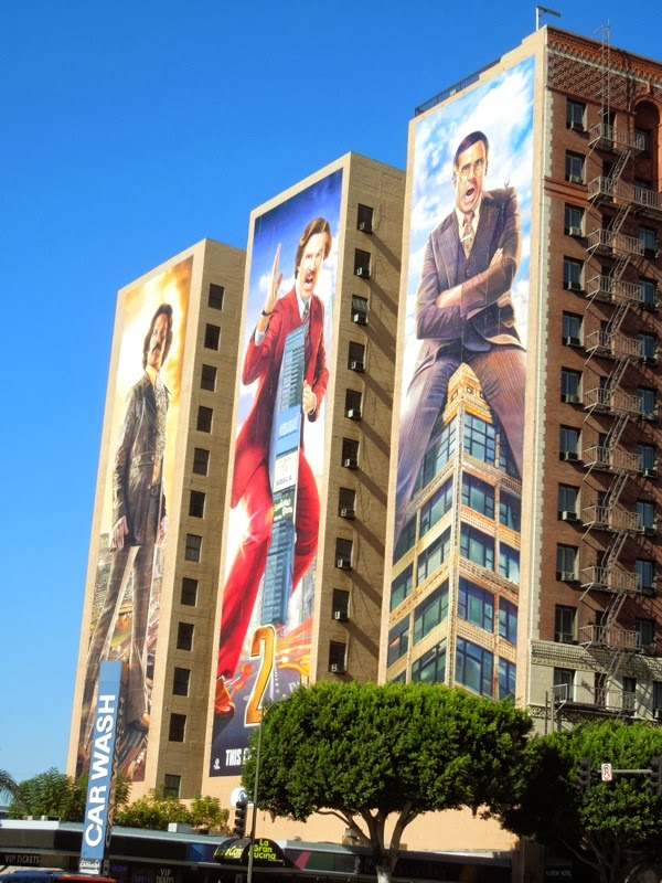 Giant Anchorman 2 billboards Downtown LA