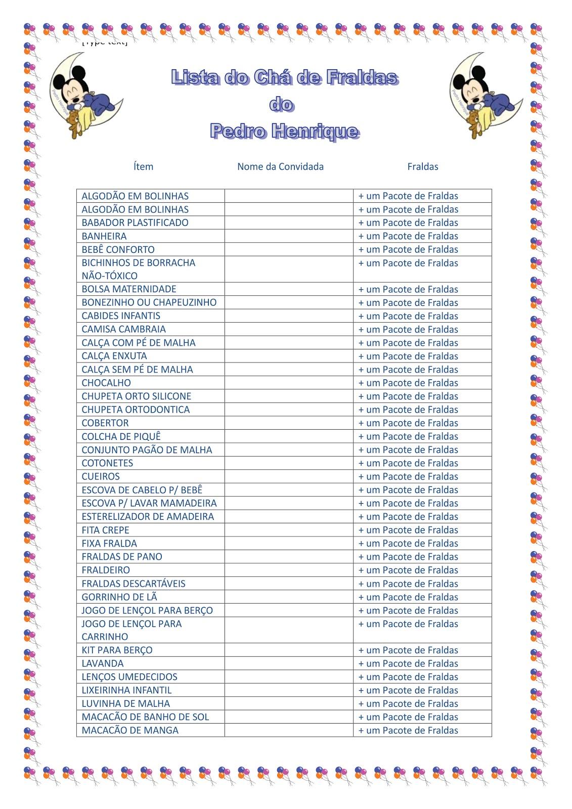 Lista De Ch De Cozinha Completa Para Imprimir Oppenau Info