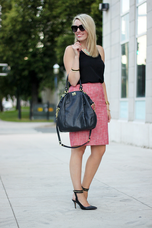 joe fresh, joe fresh outfit, joe fresh tweed skirt, alexa pope, canadian fashion blogger, coach madison lindsey, coach bag