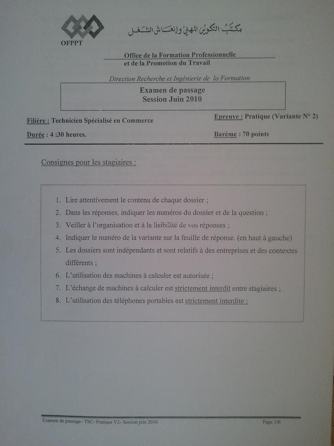Examen de Passage TSC Pratique et Théorique 2010 01