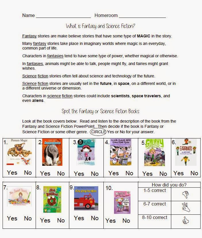 Genre Fiction: Each Download Also Contains An Activity Sheet That Asks