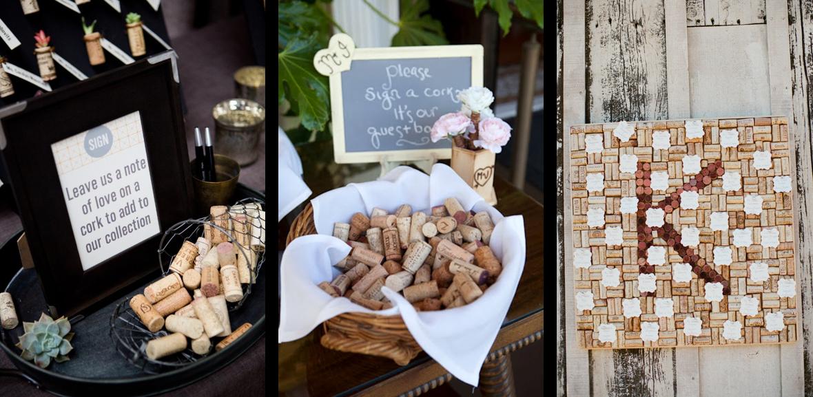 Ideas para decorar tu boda con corchos de vino: libros de firmas