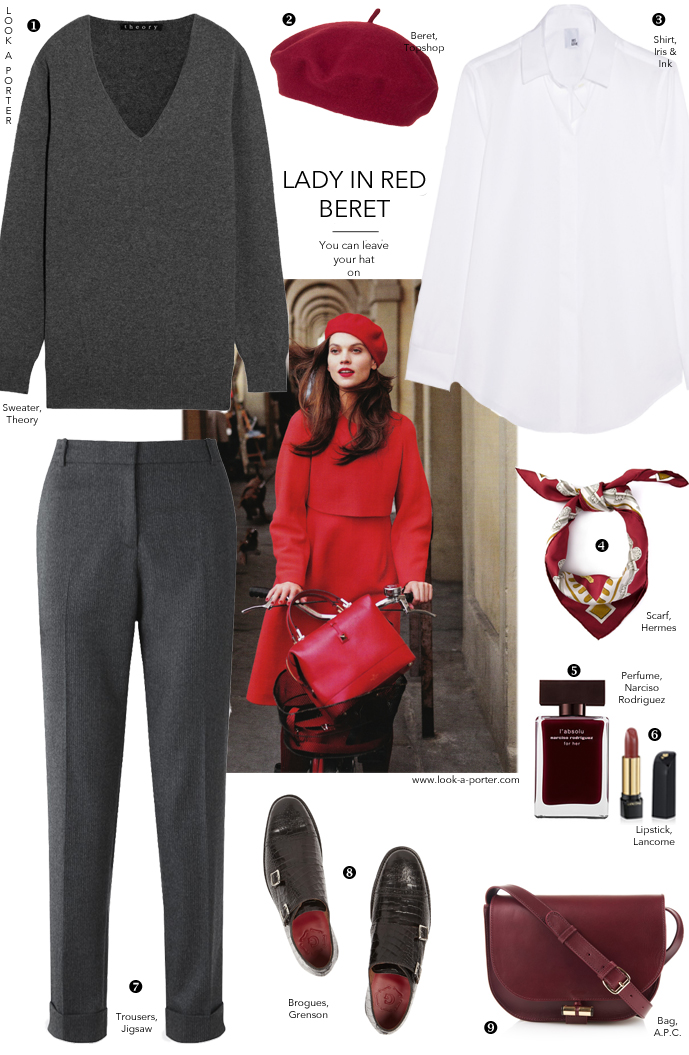Grey and red for an simple and stylish outfit of striped trousers, sweater, shirt and brogues, with a touch of red beret and hermes scarf. Via look-a-porter.com
