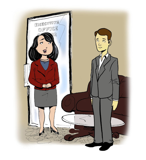 Frank is ready to leave the Executive Office Center Business Incubator, but he looks a little jaundiced to Mary.