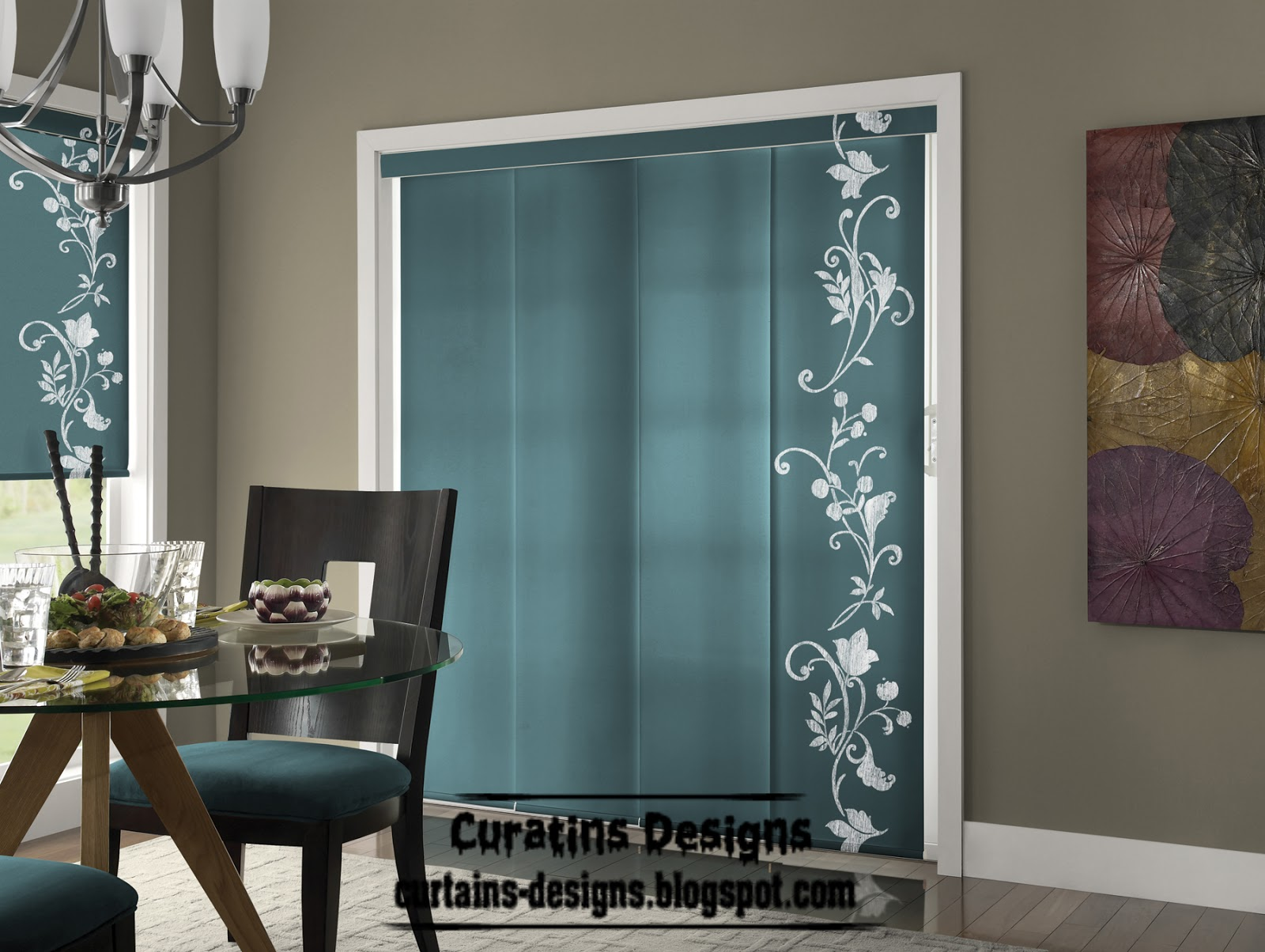 Turquoise panel curtain modern blinds design Curtains and blinds